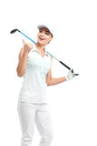 Pretty woman golfer on white background in studio. Pretty woman golfer posing with golf club on white background in studio Stock Images