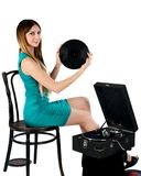Pretty woman with gramophone Stock Photo