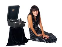 Pretty woman with gramophone Royalty Free Stock Photography