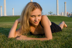 Pretty woman on grass Stock Photography