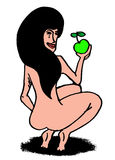 Pretty woman and green apple Royalty Free Stock Photos