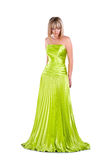 Pretty woman in green gown isolated on white Royalty Free Stock Image