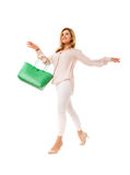 Pretty woman with  green tote bag.Isolated. Stock Images