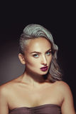 Pretty woman with grey hair color and nice beautiful makeup Royalty Free Stock Photo