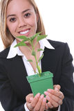Pretty Woman and Growth Plant Stock Photography