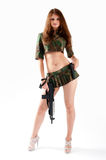 Pretty woman with a gun Royalty Free Stock Photo
