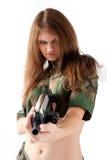 Pretty woman with a gun Stock Photos