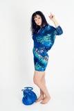 Pretty woman with handbag Stock Images