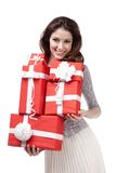 Pretty woman hands many presents Stock Photography