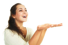 Pretty woman with hands up Royalty Free Stock Photography
