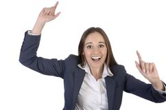 Pretty woman is happy and cheering with arms outstreched Stock Photography