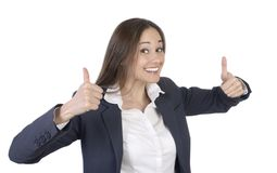 Pretty woman is happy and cheering with both thumbs up Stock Photos