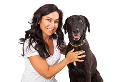 Pretty woman with Happy Dog Stock Photography