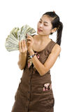 Pretty woman happy with lots of money Stock Photos
