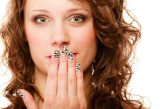 Pretty woman happy smile cover her mouth by hand palm Royalty Free Stock Photos