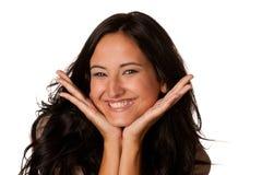 Pretty woman happy think looking. Pretty positive woman happy smile think looking up Stock Photography