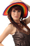 Pretty woman with hat Royalty Free Stock Images