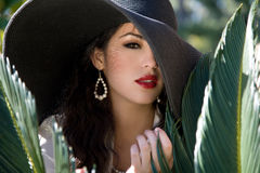 Pretty woman in a hat Royalty Free Stock Photography