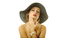 Pretty woman in hat Stock Photos