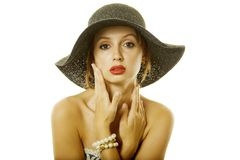 Pretty woman in hat Stock Image