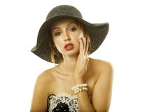Pretty woman in hat Royalty Free Stock Image