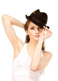 Pretty woman in hat with bird's feather Stock Photography
