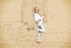 Pretty woman with hat and handbag, sketch Stock Photography