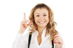 Pretty woman have the idea Stock Image