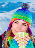 Pretty woman having coffee Stock Image