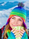 Pretty woman having coffee Stock Image