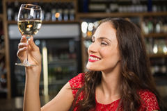 Pretty woman having a glass of wine Stock Photography