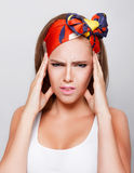 Pretty woman having headache Royalty Free Stock Photography