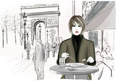 Pretty woman having a lunch at the Champs-Elysees in Paris. Pretty woman having a lunch at the Champs-Elysees avenue in Paris - Vector illustration Royalty Free Stock Photo