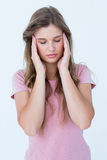 Pretty woman with headache hands on temples Stock Photography