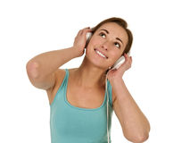 Pretty woman with headphones Stock Photos