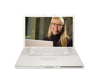 Pretty Woman with Headset on Laptop Stock Photos