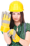 Woman in a helmet Stock Photo