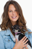 Pretty woman with her chihuahua Stock Images