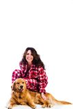 Pretty woman and her dog Stock Photo