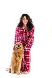 Pretty woman and her dog Royalty Free Stock Photo