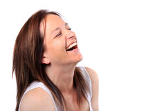 Pretty woman in her forties laughing stock images