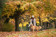 Pretty woman with her Golden Retriever Dog at a park in the Fall Royalty Free Stock Photos