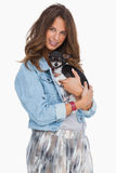 Pretty woman with her puppy Stock Photo