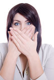 Pretty Woman Hiding Mouth Stock Photos