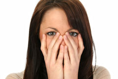 Pretty Woman Hiding Mouth Stock Photo