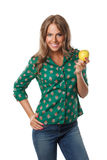 Pretty woman holding an apple Stock Image