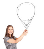 Pretty woman holding  ballon Royalty Free Stock Images