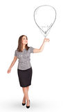Pretty woman holding balloon drawing Stock Images