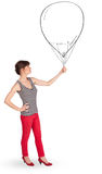 Pretty woman holding balloon drawing Stock Photos
