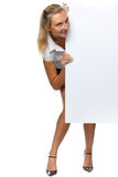 Pretty woman holding a blank billboard. Over white background Stock Photos